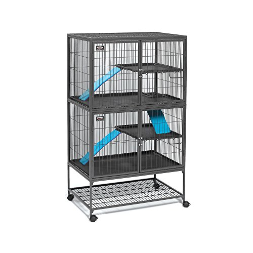 "MidWest Deluxe Ferret Nation Double Unit Ferret Cage (Model 182) Includes 2 leak-Proof Pans, 2 Shelves, 3 Ramps w/Ramp Covers & 4 locking Wheel Casters, Measures 36""L x 25""W x 62.5""H Inches"