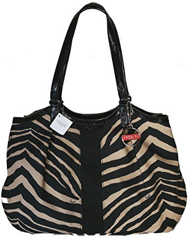 - Coach Signature Stripe Zebra Print Devin Shoulder Bag 24022
