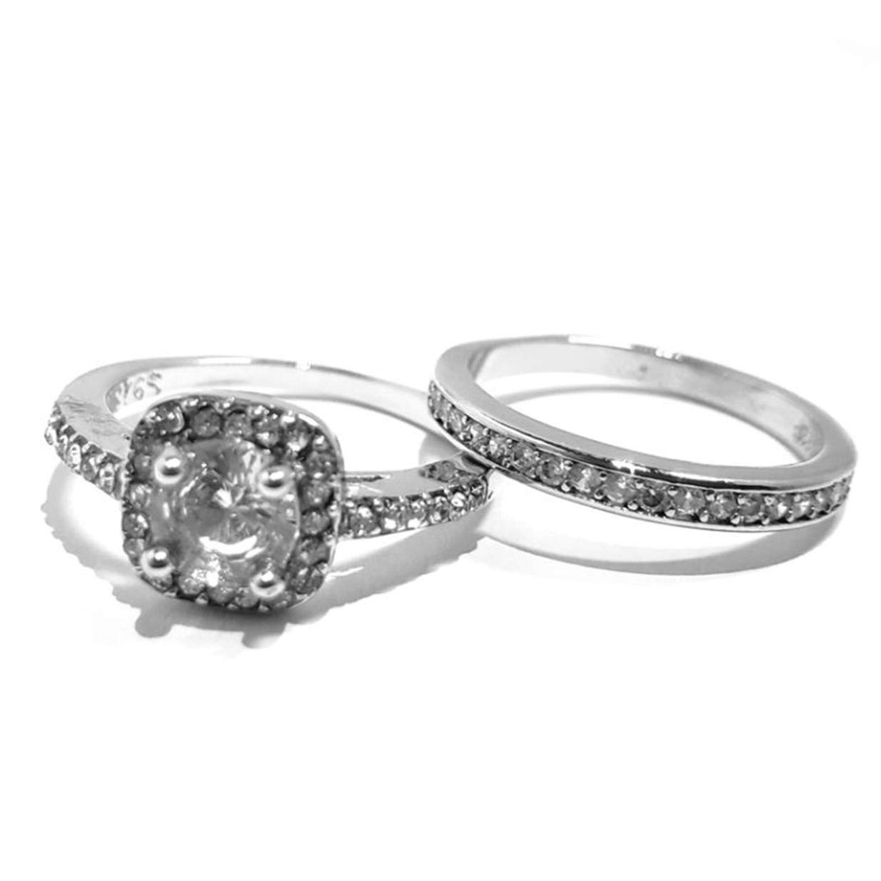 LALANG Round Zircon Engagement Finger Ring Bridal Wedding Accessories(Number 7)