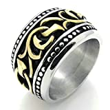 Daesar Stainless Steel Rings Mens Wedding Bands Silver Black Rings Vintage Gold Rings for Men