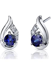 Radiant Teardrop 1.50 Carats Created Blue Sapphire Round Cut Cubic Zirconia Earrings in Sterling Silver