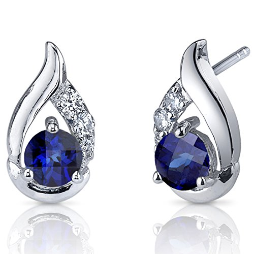 Radiant Teardrop 1.50 Carats Created Blue Sapphire Round Cut CZ Accent Earrings in Sterling (Blue Sapphire Accents)