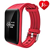 Dawo Fitness Tracker Watch IP68 Waterproof Activity Wireless Smart Bracelet with Continuous Heart Rate Monitor Step Calorie Sleep Counter Bluetooth Wristband Pedometer Sports Smart Band(Red)