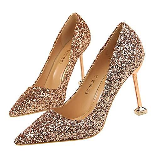 Sexy Chaussures À Glitter Argent Parti Talons Ya De liangxie Paillettes Tissu Mariage Pompes Femmes Ai Minces Champagne Stiletto wFI4Eqx