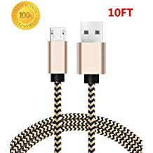 Micro USB Cable, SOGOLA USB to Micro USB Android Charger Cord, High Speed Charging Cable for Android Smartphones, Tablets, MP3 Etc.(Gold/Black) (10FT)