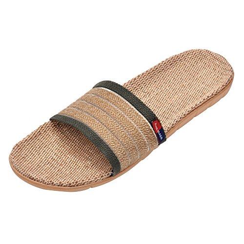 MK MATT KEELY Open-Toe Men Linen Striped Slipper Khaki Home Bath Slippers House Sandals for Summer Lightweight Breathable