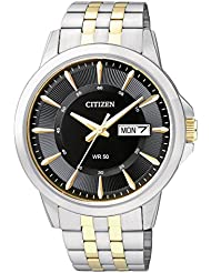 Citizen BF2018-52E Quartz Mens Day/Date Watch - Black Dial - Two-Tone Case and Bracelet.