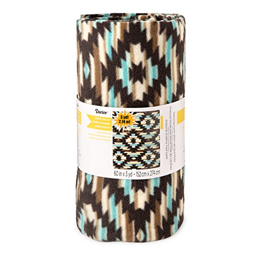 Darice Turquoise Aztec Print Anti-Pill Fleece Fabric Roll