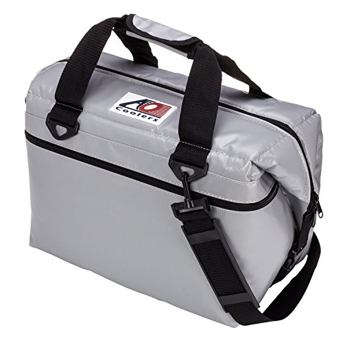 AO Coolers Water-Resistant Vinyl Soft Cooler with High-Density Insulation, Silver, 24-Can