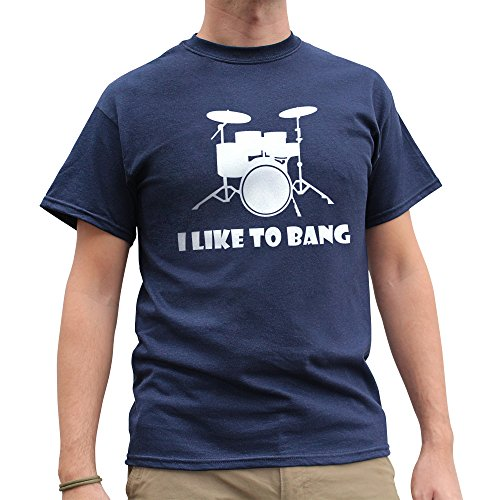 Nutees Men's I Like To Bang Drummer Drum Set Music Band Funny T Shirt Navy Blue - Apparel Store Fedex