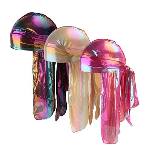 Unisex 3PCS Deluxe Silky Durag Extra Long-Tail Headwraps Pirate Cap 360 Waves Du-RAG(3 Pack Group 4) -