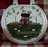 Primitive Country Decor Hand Painted Farmhouse Sheep Grazing Round Wood Toilet Seat Made in USA