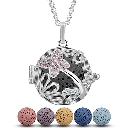 - INFUSEU Pink CZ Diffuser Necklace Essential Oil Diffuser Aromatherapy Jewelry Quatrefoil Four Leaf Flower Locket Pendant with 5 PCS Lava Rock Stone and 24