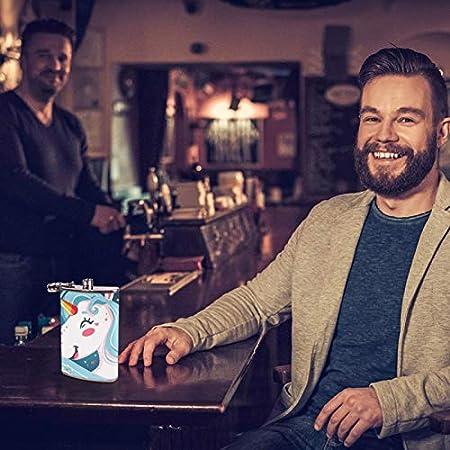 Petacas de Alcohol Unicornio de dibujos animados Petacas de Licor Acero Inoxidable 227ml Frasco de Whisky Botella de bolsillo Con embudo 9.2x15cm