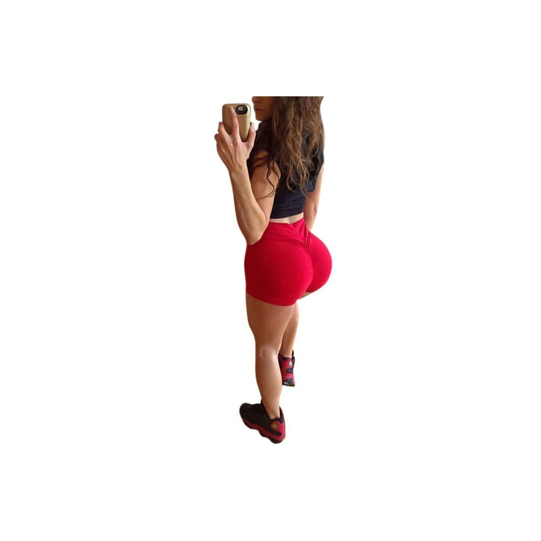 Alex Kuts Women High Waist Back Ruched Hip Lifting Shorts Workout Stretch Gym Bottoms