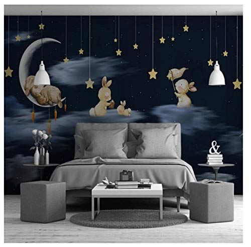 Hand Painted Kids Murals - Hand-Painted Children Room Cartoon Rabbits Sky Night Stars Wall Paper 3D Lovely Animals Mural Wallpaper for Kids Room@150105