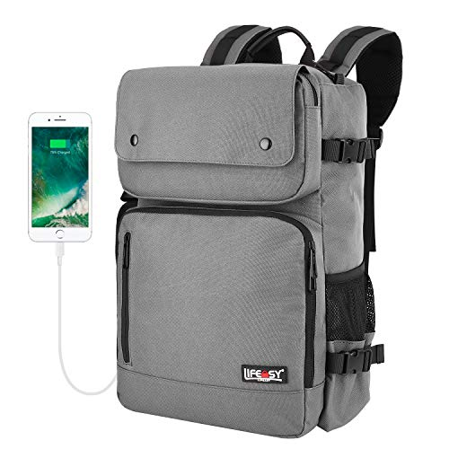 Lifeasy Carry on Backpack, 40L Flight Approved Laptop Travel Pack Bag Daypack with USB Charging Port (Grey1)