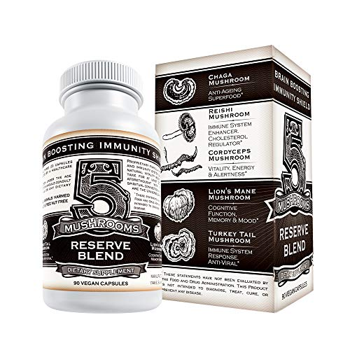 5 Mushrooms Reserve Blend - US Grown Organic Mushroom Supplement - Lions Mane, Cordyceps, Reishi, Chaga, Turkey Tail – Natural Immune System Booster, Nootropic, & Anxiety Relief 90 Veggie Pills ()