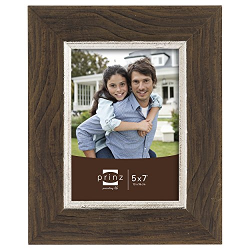 Prinz Crawford Distressed Wood Frame with Gilded Border, 5 by 7-Inch, Brown