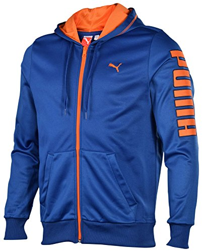 Puma Men's Poly Fleece Full Zip Hoodie-Blue/Orange-XL
