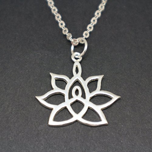 Handmade Silver Mother and Child Knot Flower Lotus Pendant Necklace