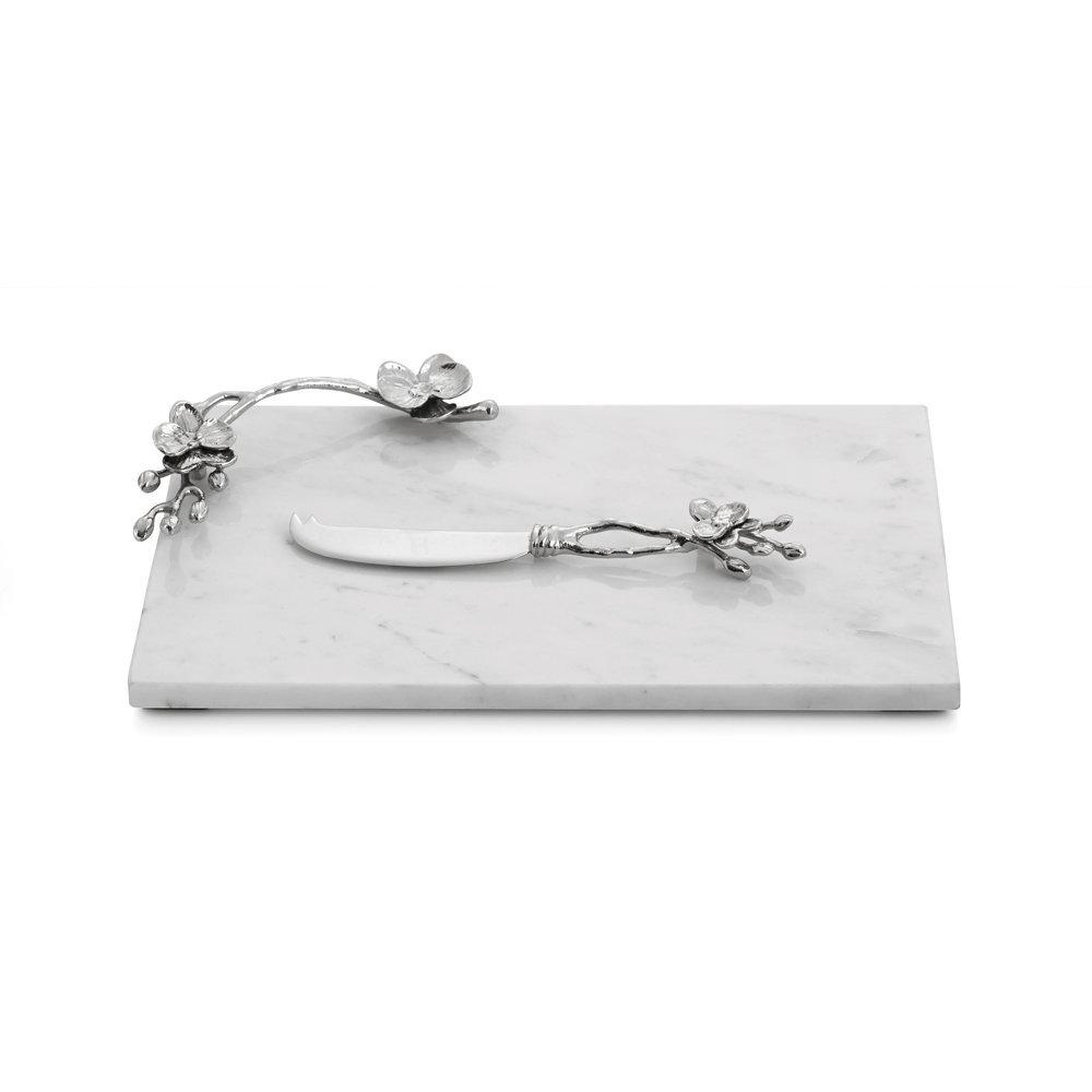 Michael Aram White Orchid Cheese Board w/ Knife, Small