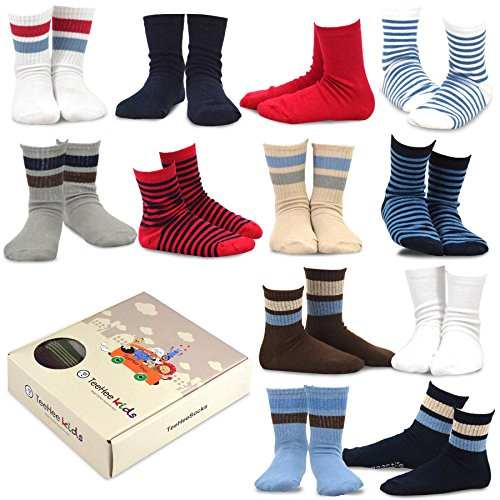 TeeHee Kids Boys Cotton Basic Crew Socks 12 Pair Pack for sale  Delivered anywhere in USA