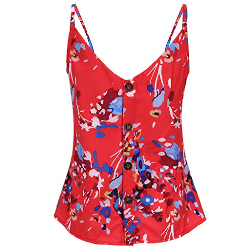 - Aunimeifly Women's Sleeveless V-Neck Button Buckle Vest Bohemian Small Floral Print Casual Camisole Tank Tops Red