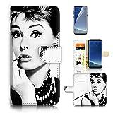 (For Samsung S8+/Galaxy S8 Plus) Flip Wallet Case Cover & Screen Protector Bundle - A21320 Audrey Hepburn