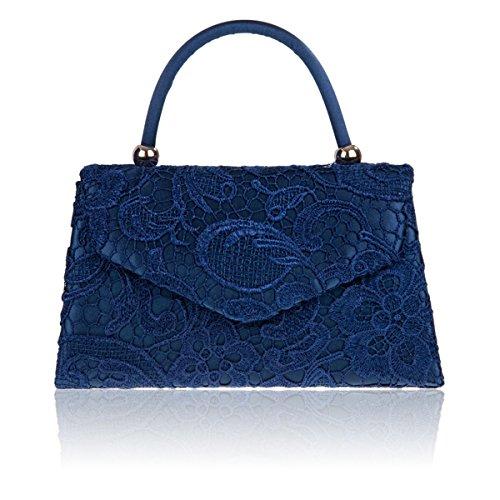 Xardi London mango Ladies embrague satén de funda para mujer de encaje floral noche bolso novia UK azul marino