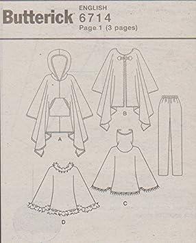 Butterick patrón de costura para 6714 b6714 Misses tamaños 12 - 16 Fácil con capucha Poncho pantalones: Amazon.es: Juguetes y juegos