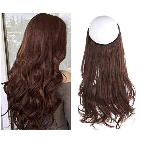 "Halo Secret Invisiable Hair Extension Flip Hidden Wire Crown Natural Curly Dark Auburn Burgundy Long Synthetic Hairpiece For Women Japan Heat Temperature Fiber SARLA 18"" 4.4oz M01&33"