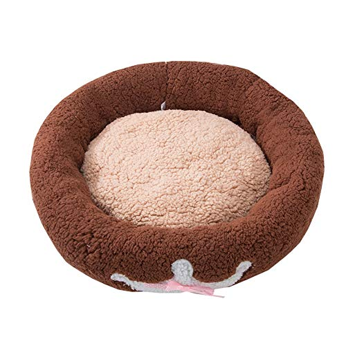 Ryan Pet Nest, Warm and Comfortable Pet-Resistant Bite Dog Bed Dog House Small Medium Dog Winter Dog Supplies Pet Nest (Color : Brown, Size : S) ()