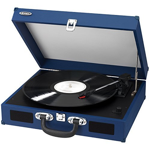Jensen JTA-410-BL Portable 3-Speed Stereo Turntable with Bui