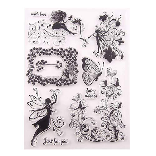 Yeefant Transparent Stamp Clear Butterfly Elf Fairy Stamp Silicone Seal DIY Clip Art Scrapbooking Photo Album Decoration 20×16cm, for Children to Cultivate Their Hands-on Ability