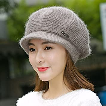 f9a14500f2b Amazon.com  GAOQIANGFENG Winter hat female Korean fashion rabbit ear pure  duck tongue Beret thermal knitted woolen cap in autumn and winter