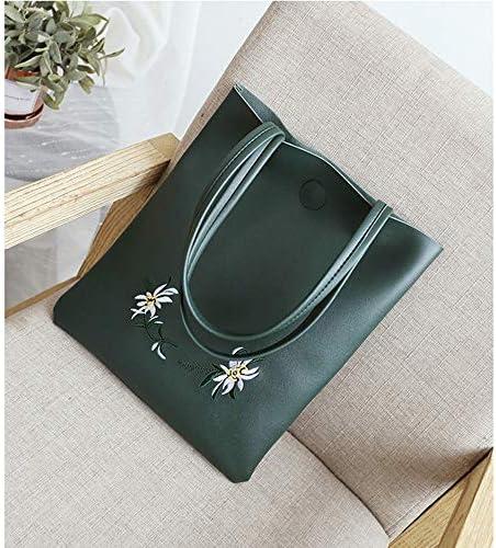 ファッションブランド大きな袋の女性の新しい年の新しいショルダーバッグシンプルなカジュアル刺繍トートバッグ大容量通勤バッグハンドバッグ若々しく可愛らしい雰囲気 (Color : Green)