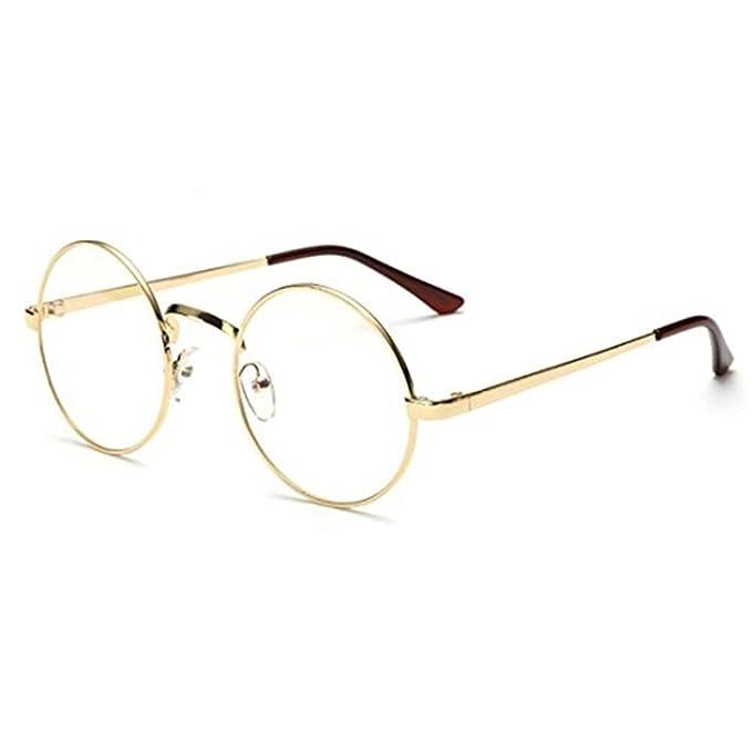VWH Retro Runde Brille Mit Fensterglas Damen Herren Brillenfassung (golden) 5e40aa7d41