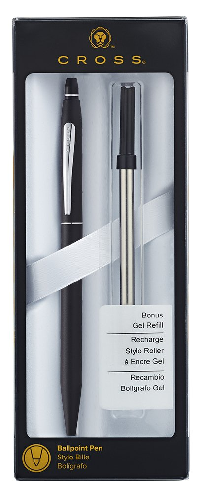 Cross Click Classic Black Ballpoint Pen with Chrome Appointments and Bonus Slim Gel Refill