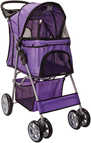 OxGord 4 Wheel Folding Stroller Lavender product image