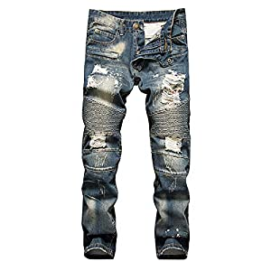 MAGE MALE Men's Biker Ripped Jeans Slim Fit Straight Splicing Stretch Destroyed With Zipper Closure