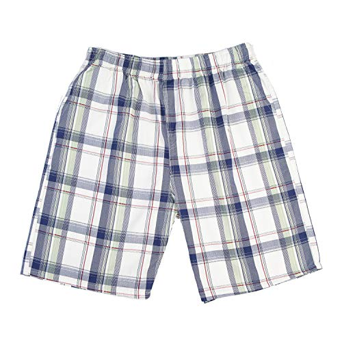 (CORPS GEMA Men's Classic - Fit Cotton Checkered Print Pleated Shorts with Drawstring Walk Large)