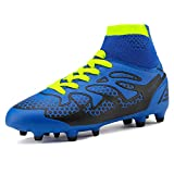 DREAM PAIRS Big Kid 160858-K Royal Black Neon Green Fashion Soccer Football Cleats Shoes Size 6 M US Big Kid