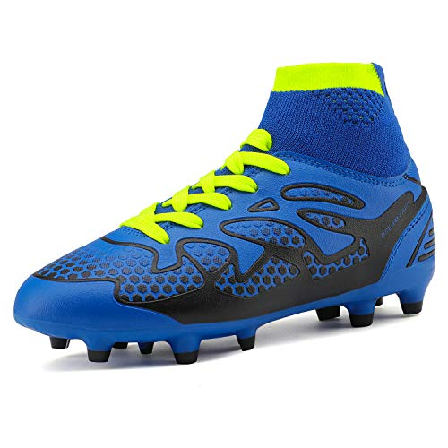 DREAM PAIRS Little Kid 160858-K Royal Black Neon Green Fashion Soccer Football Cleats Shoes Size 13 M US Little Kid