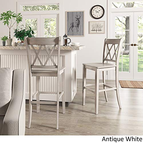 Inspire Q Eleanor Double X Back Bar Ight Chairs (Set of 2) by Classic Antique White Antique, Wood Finish