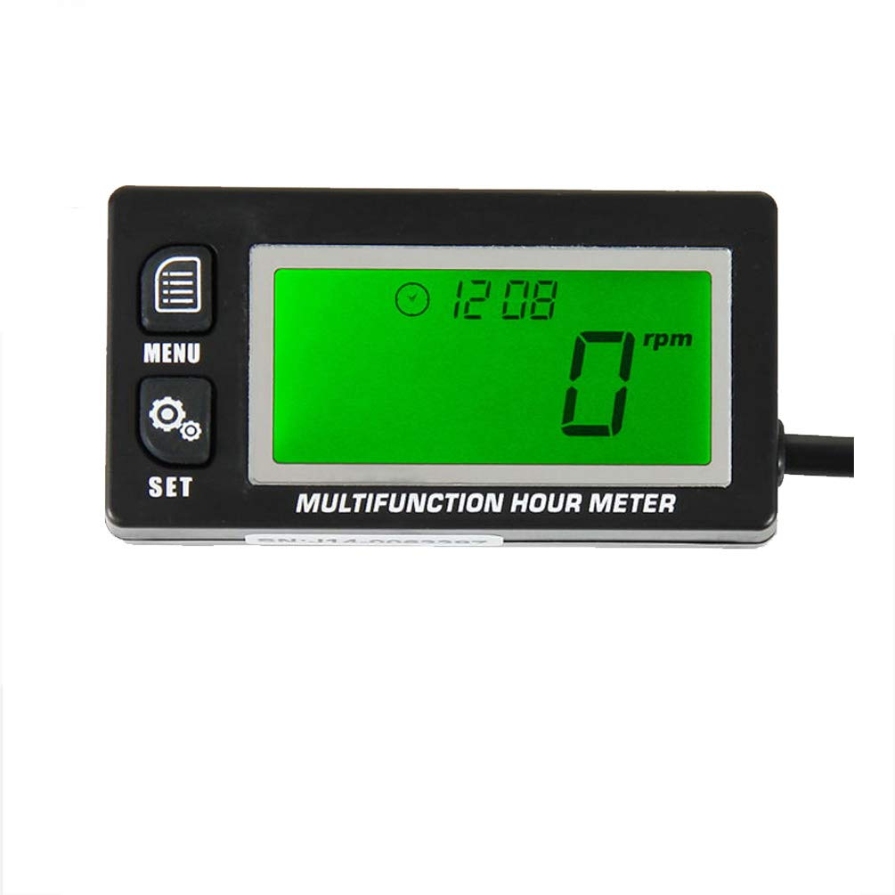 Multifunction Hour Meter Tachometer Voltmeter with Clock 2 & 4 Stroke for Small Engine Boat Outboard Mercury Motocross Motorcycle Lawn Mower Generator Found-own RL-HM028
