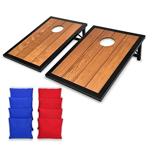 (GoSports Premium Hardwood Cornhole Set with Powder Coated Frame, 8 All-Weather Bean Bags)