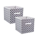 Aloiness Fabric Storage Bins for Nursery, Offices, Home Organization, Containers are Made to Fit Standard Cube Organizers (11x11x11) Lattice Gray - Set of 2