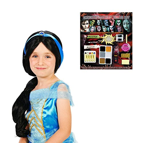[Arabian Princess Child Wig and Makeup Bundle Set] (Princess Jasmine Wig)