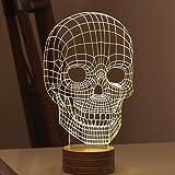 GARY&GHOST Illusion Optique Lampe LED 3D Effet Vision de Table Bureau Chevet Lumière Motif Crâne de Mort Visuel Tridimensionnelle Créative Éclairage Light 0.5W USB Décoration Ornement pour Maison Chambre Café Bar KTV